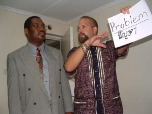 Barry teaching conflict management techniques in Kenya